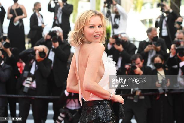 """Eva Herzigová attends the """"Tout S'est Bien Passe """" screening during the 74th annual Cannes Film Festival on July 07, 2021 in Cannes, France."""