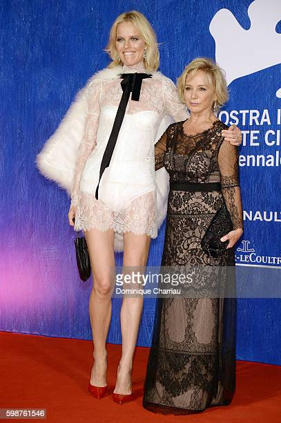 Eva Herzigova and Alberta Ferretti attend the premiere of 'Franca Chaos And Creation' during the 73rd Venice Film Festival at Sala Giardino on...