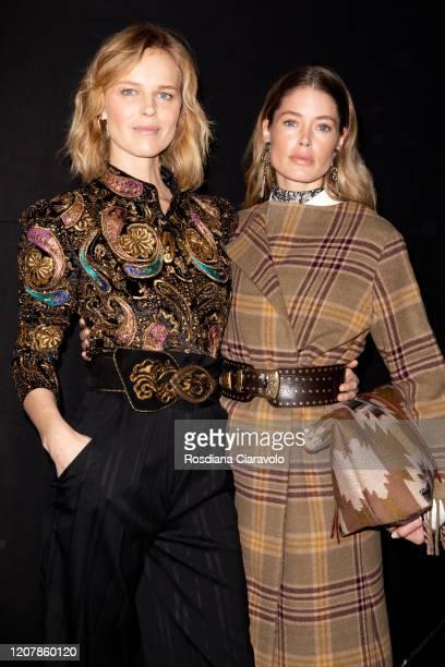 Eva Herzigova and Doutzen Kroes are seen backstage at the Etro fashion show on February 21, 2020 in Milan, Italy.