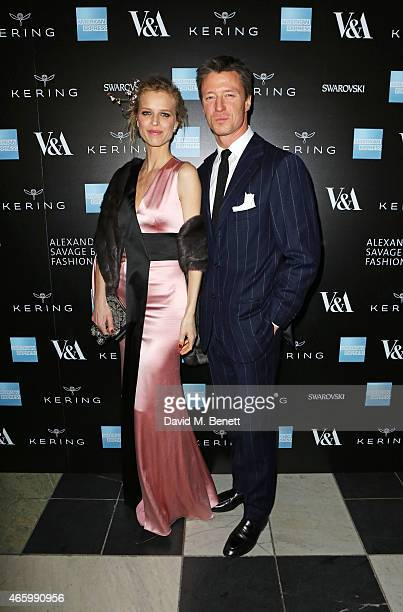 Eva Herzigova and Gregorio Marsiaj arrive at the Alexander McQueen Savage Beauty Fashion Gala at the VA presented by American Express and Kering on...
