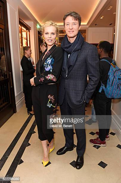 Eva Herzigova and Gregorio Marsiaj attend an event hosted by Naomi Campbell Burberry and TASCHEN to celebrate the launch of 'Naomi' at Burberry's at...