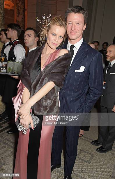 Eva Herzigova and Gregorio Marsiaj attend the Alexander McQueen Savage Beauty Fashion Gala at the VA presented by American Express and Kering on...