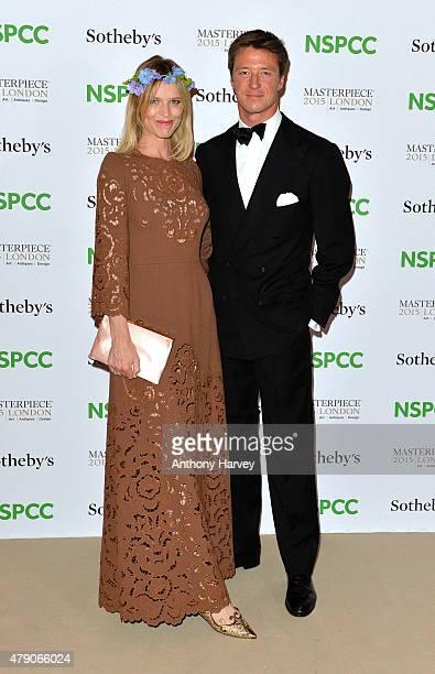Eva Herzigova and Gregorio Marsiaj attend the NSPCC NeoRomantic Art Gala at Masterpiece London on June 30 2015 in London England