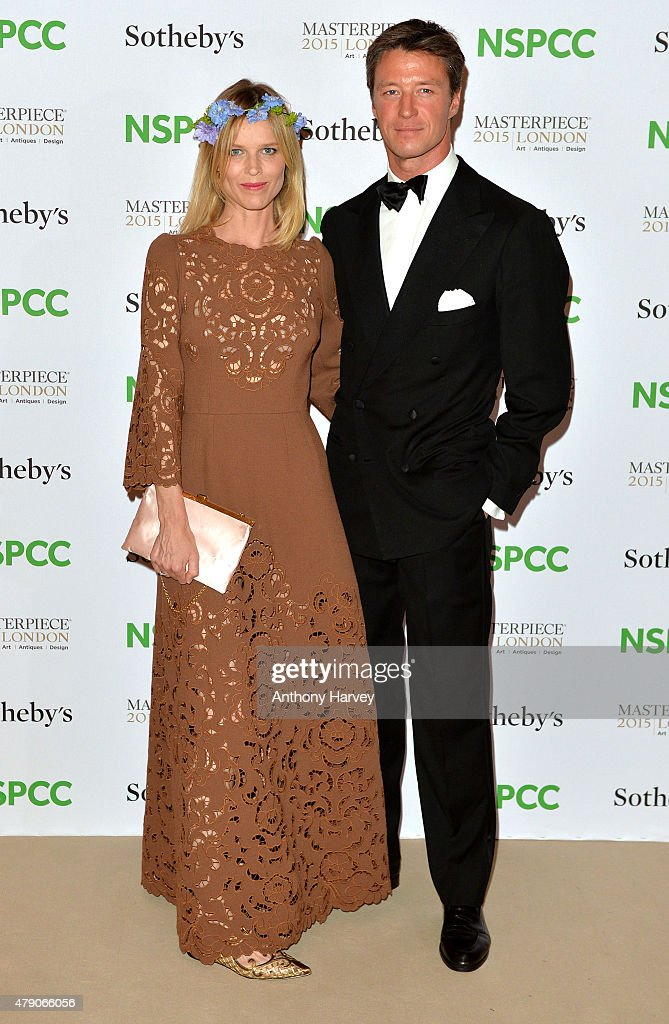 Eva Herzigova and Gregorio Marsiaj attend the NSPCC Neo-Romantic Art Gala at Masterpiece London on June 30, 2015 in London, England.