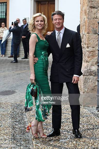 Eva Herzigova and Gregorio Marsiaj attend the wedding of Lady Charlotte Wellesley and Alejandro Santo Domingo at Illora on May 28, 2016 in Granada,...