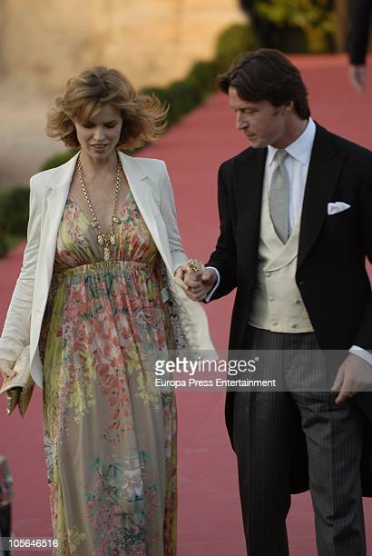 Eva Herzigova and Gregorio Marsiaj attend the wedding of Luis Medina and Laura Vecino on October 16 2010 in Toledo Spain