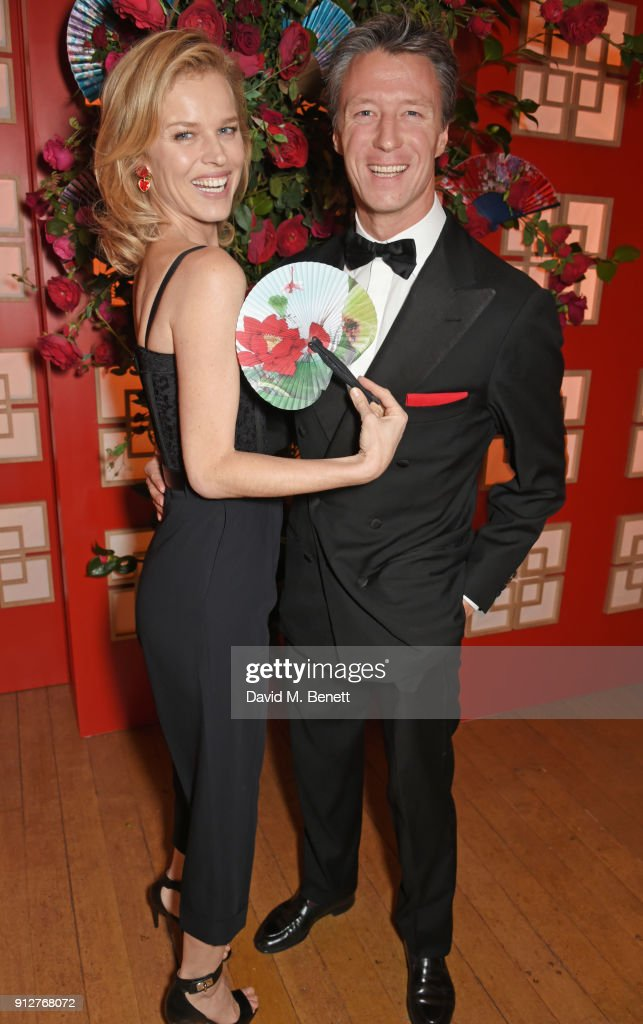 Eva Herzigova (L) and Gregorio Marsiaj attend Wendy Yu's Chinese New Year Celebration at Kensington Palace on January 31, 2018 in London, United Kingdom.