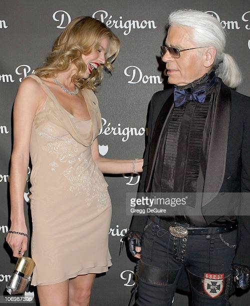 Eva Herzigova and Karl Lagerfeld during Dom Perignon Karl Lagerfeld and Eva Herzigova Host An International Launch To Unveil The New Image Of Dom...