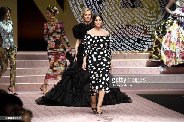 6f1c1fc4b43e9 Eva Herzigova and Monica Bellucci walk the runway at the Dolce Gabbana show  during Milan Fashion