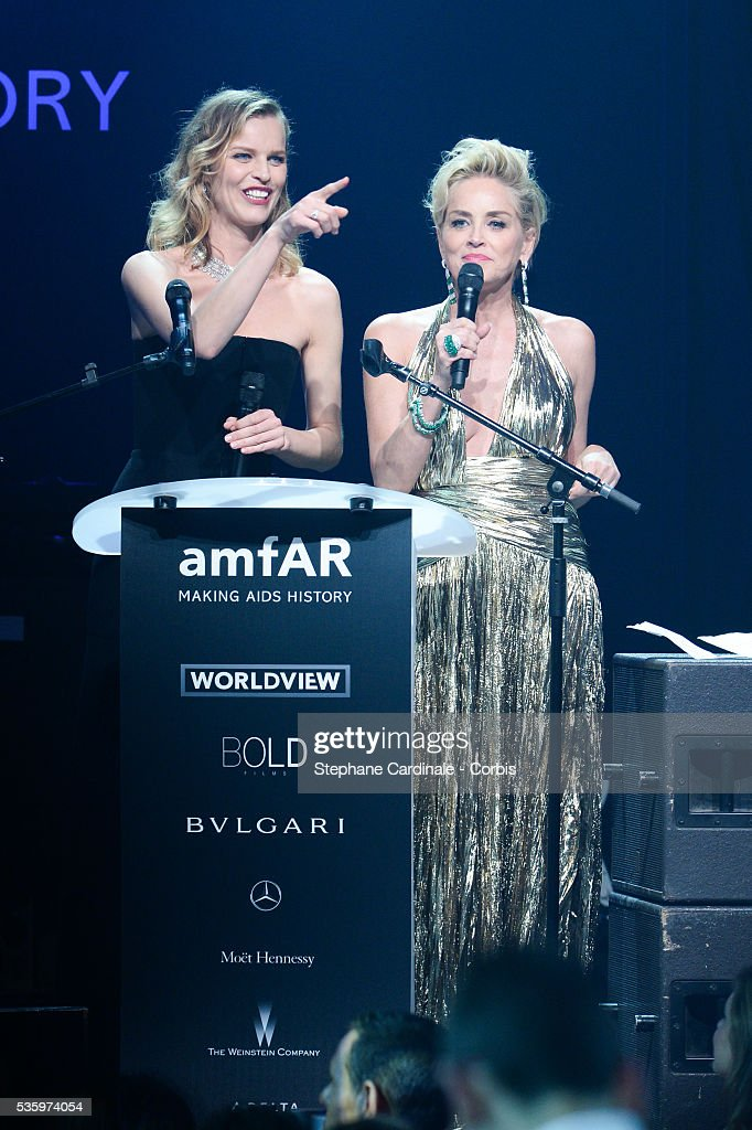 Eva Herzigova and Sharon Stone at the amfAR's 21st Cinema Against AIDS Gala at Hotel du Cap-Eden-Roc during the 67th Cannes Film Festival