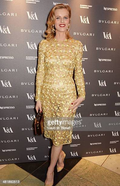 Eva Herzigova attends a private dinner celebrating the Victoria and Albert Museum's new exhibition 'The Glamour Of Italian Fashion 1945 2014' at...