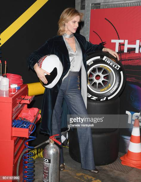 Eva Herzigova attends the Tommy Hilfiger show during Milan Fashion Week Fall/Winter 2018/19 on February 25 2018 in Milan Italy