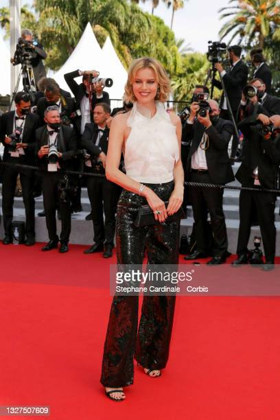 """Eva Herzigova attends the """"Tout S'est Bien Passe """" screening during the 74th annual Cannes Film Festival on July 07, 2021 in Cannes, France."""