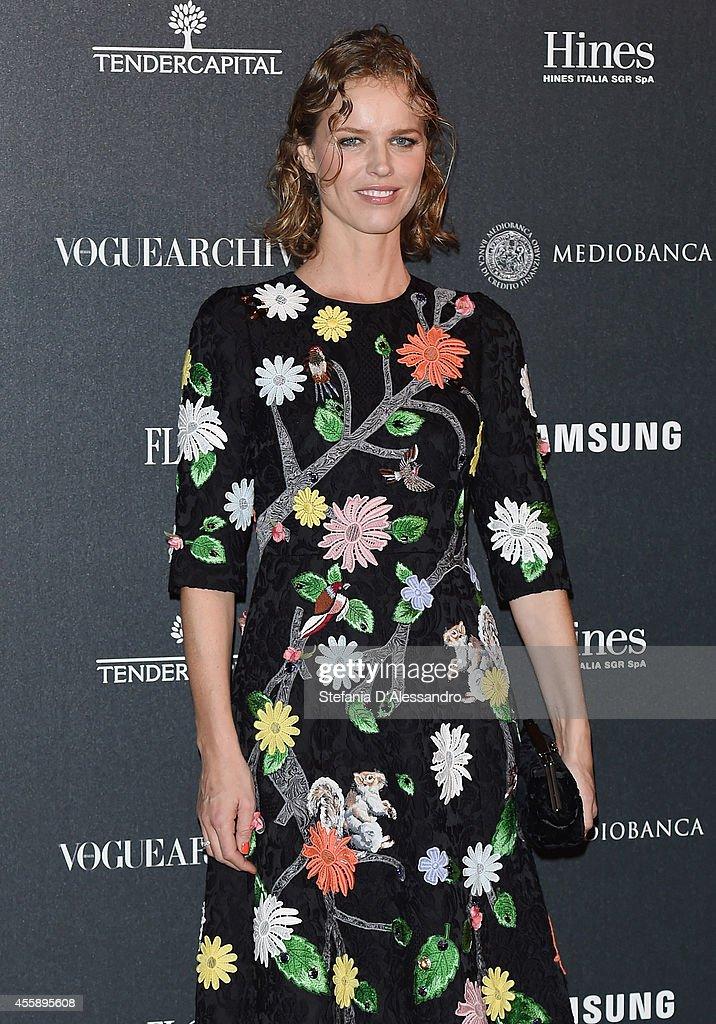 Eva Herzigova attends Vogue Italia 50th Anniversary Event on September 21, 2014 in Milan, Italy.