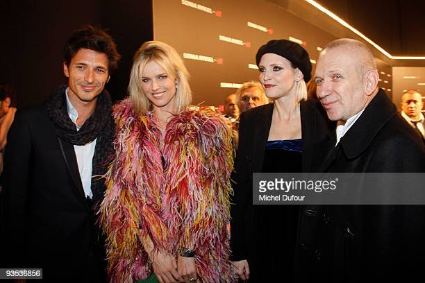 Eva Herzigova guest Nadja Auermann and Jean Paul Gaultier attend the Sonia Rykiel HM Underwear Collection Launch Party at Grand Palais on December 1...