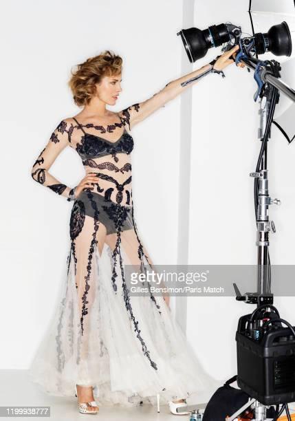 Eva Herzigova is photographed for Paris Match wearing a dress by Jean-Paul Gaultier on January 23, 2020 in Paris, France.