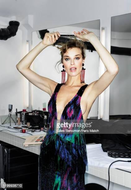 Eva Herzigova is photographed for Paris Match wearing a dress by Giorgio Armani Privé on January 23, 2020 in Paris, France.