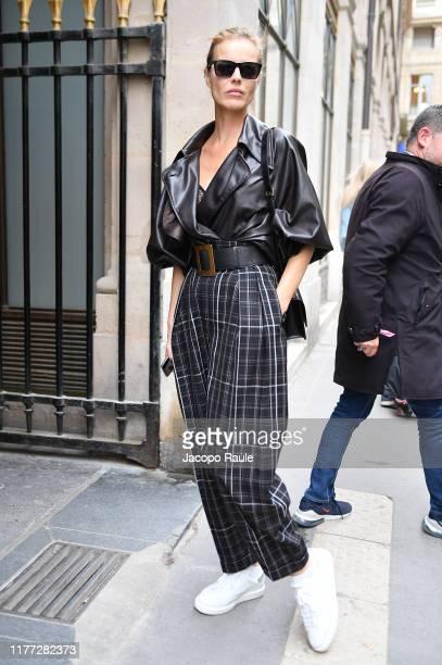 Eva Herzigova is seen arriving at Isabel Marant during Paris Fashion Week - Womenswear Spring Summer 2020 on September 26, 2019 in Paris, France.