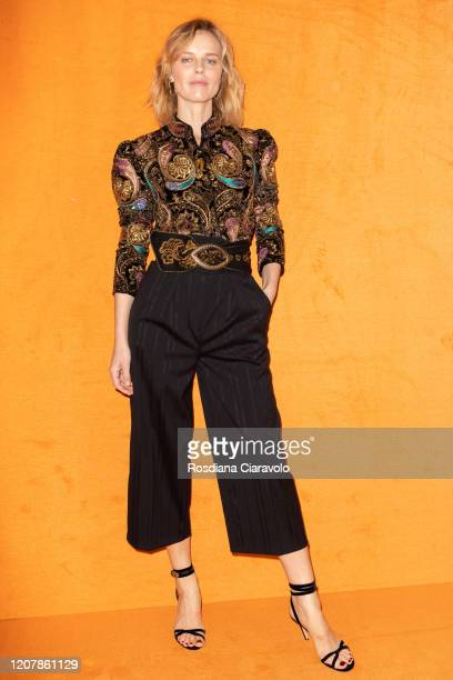 Eva Herzigova is seen backstage at the Etro fashion show on February 21, 2020 in Milan, Italy.