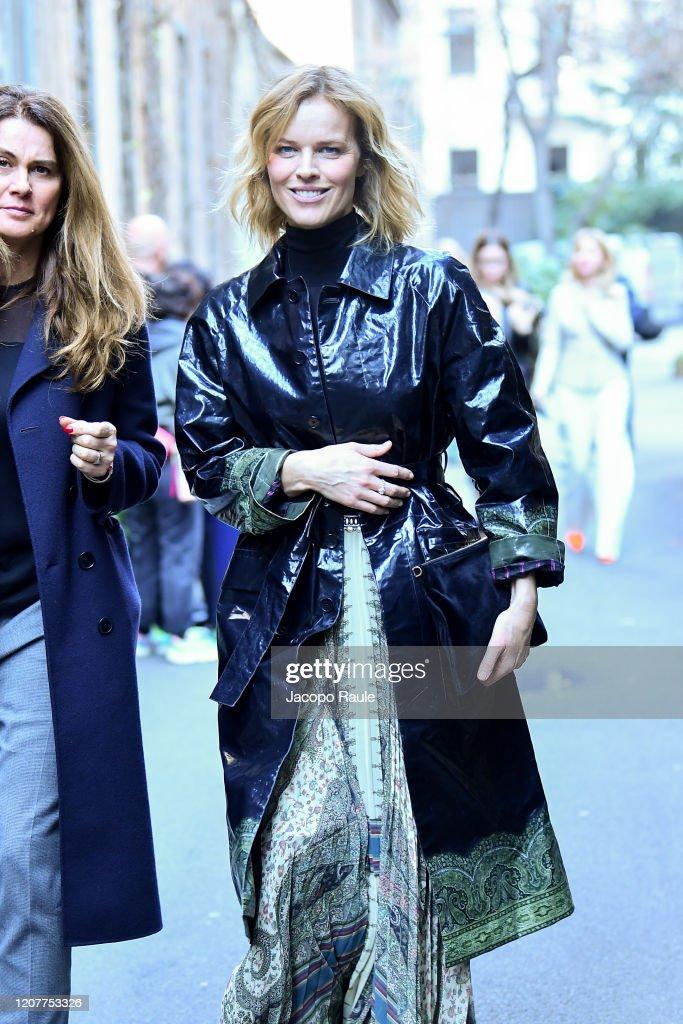 Eva Herzigova Is Seen Leaving The Etro Fashion Show On February 21 News Photo Getty Images