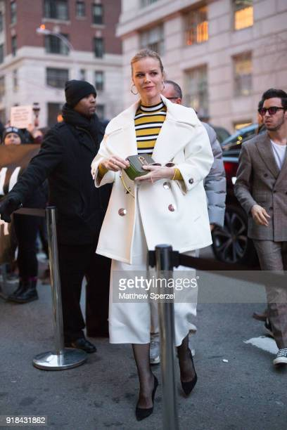 Eva Herzigova is seen on the street attending Marc Jacobs during New York Fashion Week wearing Marc Jacobs on February 14 2018 in New York City