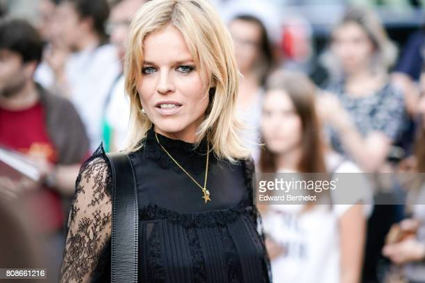 Eva Herzigova is seen outside the Vogue Foundation Dinner during Paris Fashion Week Haute Couture Fall/Winter 20172018 on July 4 2017 in Paris France