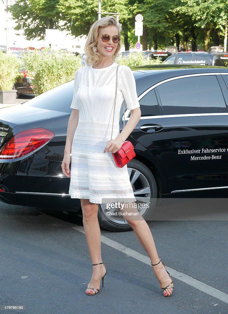 Eva Herzigova sighted arriving during the Mercedes-Benz Fashion Week Berlin Spring/Summer 2016 at Brandenburg Gate on July 7, 2015 in Berlin, Germany.