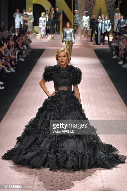 Eva Herzigova walks the runway at the Dolce Gabbana Ready to Wear fashion show during Milan Fashion Week Spring/Summer 2019 on September 23 2018 in...