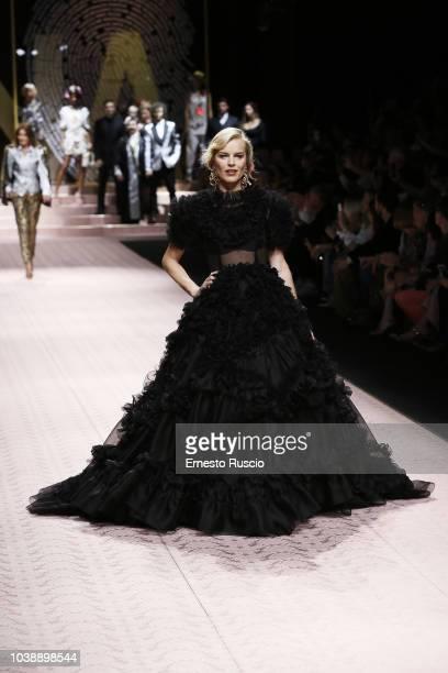 Eva Herzigova walks the runway at the Dolce Gabbana show during Milan Fashion Week Spring/Summer 2019 on September 23 2018 in Milan Italy