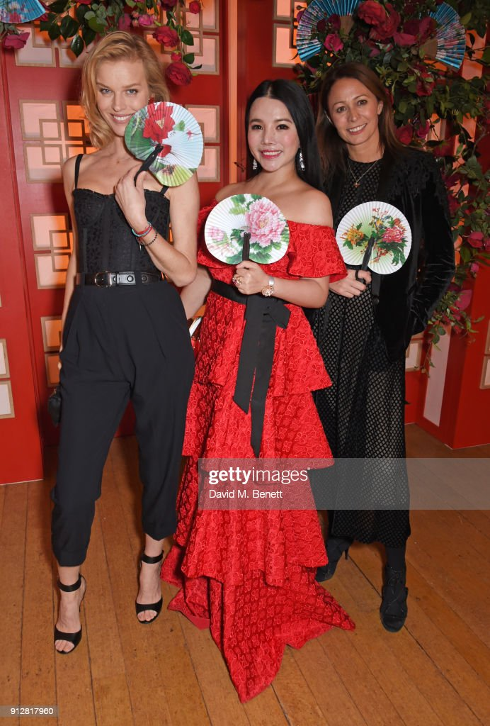 Eva Herzigova, Wendy Yu and Caroline Rush attend Wendy Yu's Chinese New Year Celebration at Kensington Palace on January 31, 2018 in London, United Kingdom.