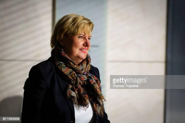 Eva Hoegl SPD member of German Bundestag arrives for a faction meeting at Bundestag on February 20 2018 in Berlin Germany