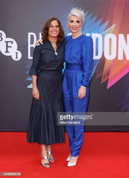 """Eva Husson and Elizabeth Karlsen attend the """"Mothering Sunday"""" UK Premiere during the 65th BFI London Film Festival at The Royal Festival Hall on..."""