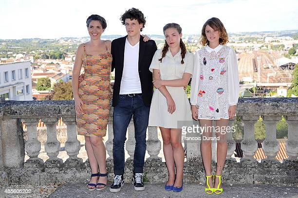 Eva Husson Lorenzo Lefebvre Daisy Broom and Marilyn Lima pose at a photocall for the film 'Bang Gang ' during the 8th Angouleme FrenchSpeaking Film...