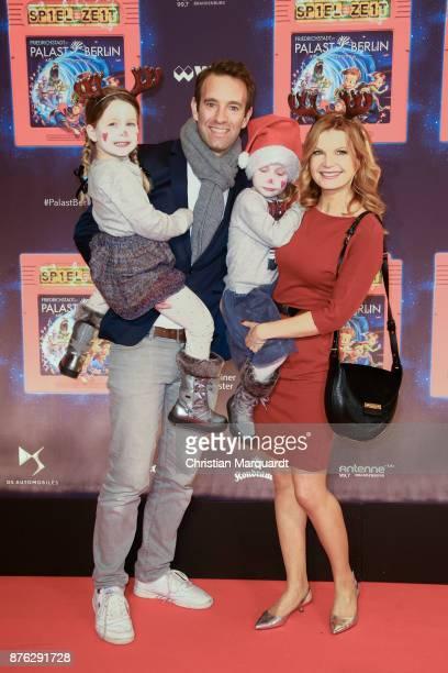 Eva Imhof and Peter Imhof with KIds attend the premiere of children's show 'Spiel mit der Zeit' at Friedrichstadtpalast on November 19, 2017 in...