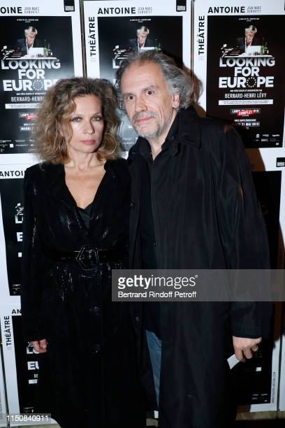 Eva Ionesco and her husband Simon Liberati attend BernardHenri Levy performs in Looking for Europe at Theatre Antoine on May 21 2019 in Paris France