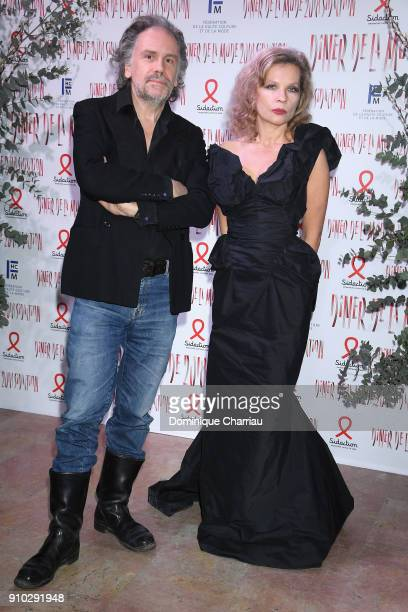 Eva Ionesco and Simon Liberati attend the 16th Sidaction as part of Paris Fashion Week on January 25 2018 in Paris France