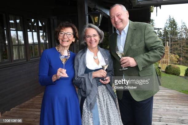 Eva Kinkel Dr Alexandra Barthmann and Ralf Barthmann during the 50th birthday celebration of author Tanja Kinkel at Freihaus Brenner on September 28...