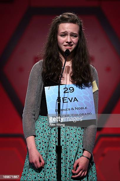 Eva Kitlen of Niwot Colorado reacts after she misspelled her word in the round six of the 2013 Scripps National Spelling Bee May 30 2013 at Gaylord...