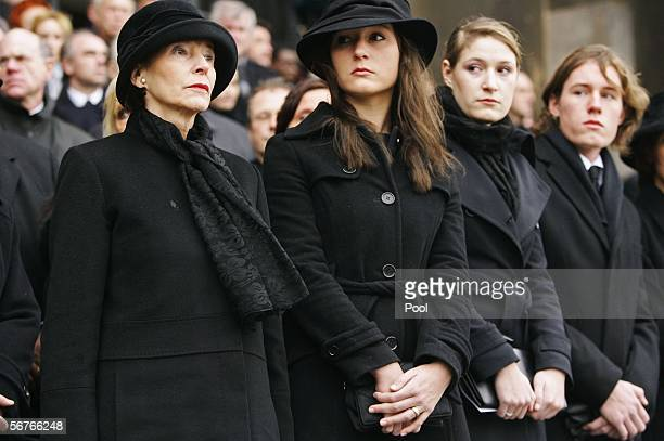 Eva Koehler and Johannes Rau's children Anna Christina, Laura and Philip Imanuel attend the funeral service for late former German President Johannes...