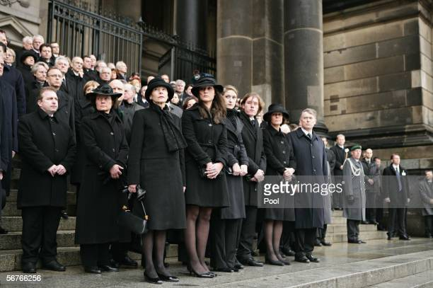 Eva Koehler and Johannes Rau's children Anna Christina Laura Philip Imanuel his widow Christina Rau and Horst Koehler German President attend the...
