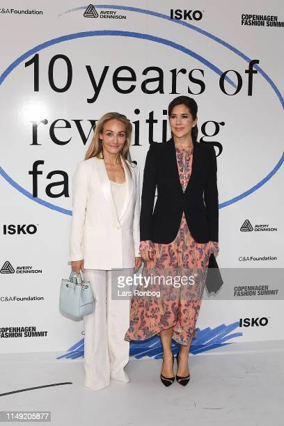 Eva Kruse, CEO & President of Global Fashion Agenda and Mary, Crown Princess of Denmark arrive at Day One of the Copenhagen Fashion Summit 2019 at DR...