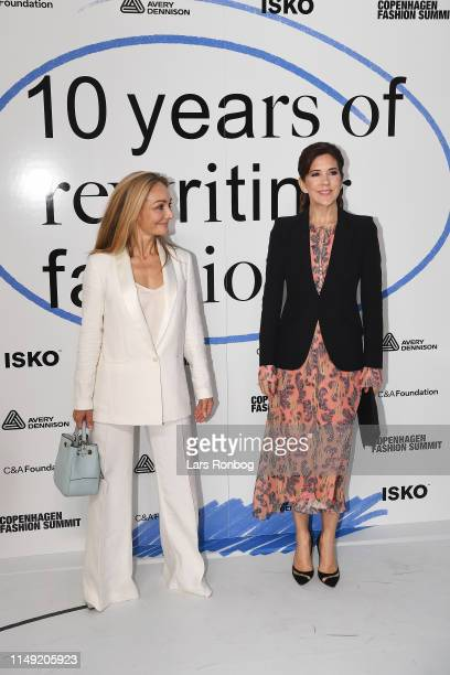 Eva Kruse CEO President of Global Fashion Agenda and Mary Crown Princess of Denmark arrive at Day One of the Copenhagen Fashion Summit 2019 at DR...