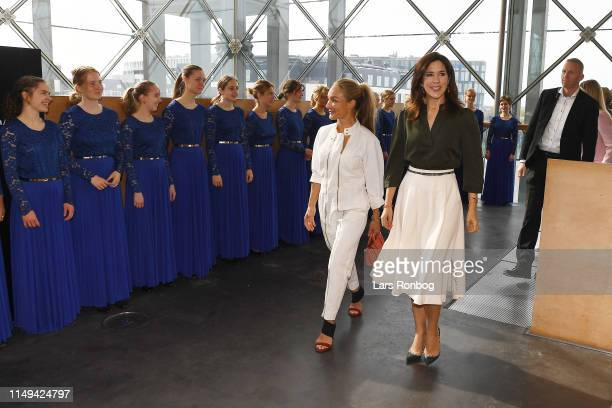 Eva Kruse President and CEO Global Fashion Agenda and Mary Crown Princess of Denmark are met on arrival by the DR PigeKoret during Day Two of the...