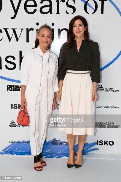 Eva Kruse, President and CEO, Global Fashion Agenda and Mary, Crown Princess of Denmark arrive on Day Two of the Copenhagen Fashion Summit 2019 at DR...
