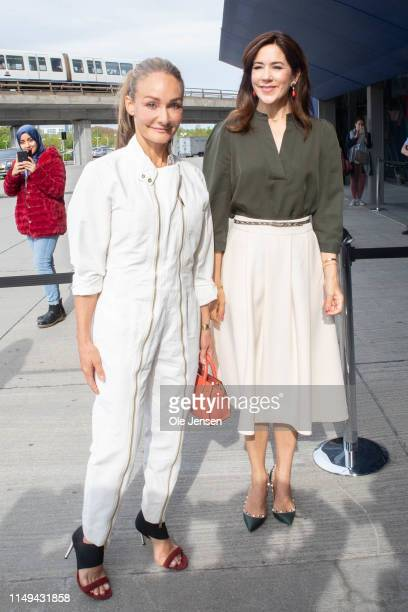Eva Kruse President and CEO Global Fashion Agenda and Mary Crown Princess of Denmark arrive on Day Two of the Copenhagen Fashion Summit 2019 at DR...