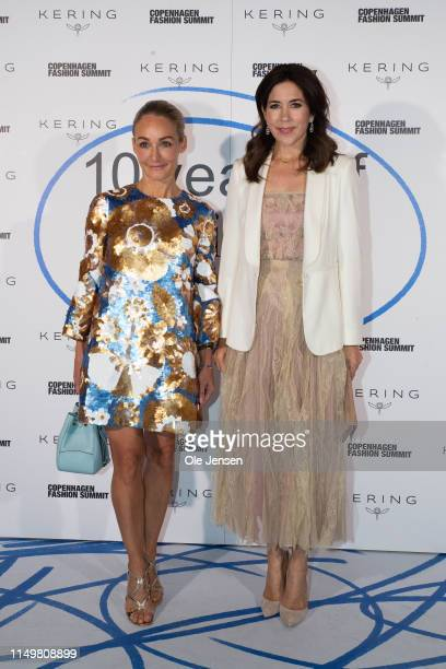 Eva Kruse, President and CEO, Global Fashion Agenda and Mary, Crown Princess of Denmark attend the Copenhagen Fashion Summit Celebration Dinner at...
