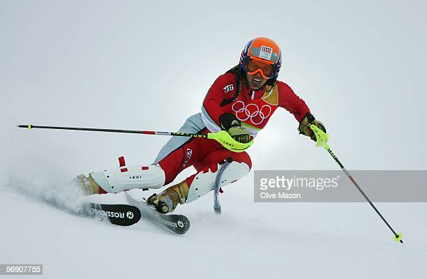 Eva Kurfuerstova of Czech Republic competes during the first run of the Womens Alpine Skiing Slalom Final on Day 12 of the 2006 Turin Winter Olympic...