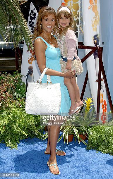 Eva La Rue and daughter during 'Surf's Up' Los Angeles Premiere Arrivals at Mann Village Theatre in Westwood California United States