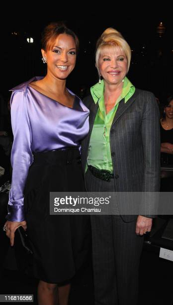 Eva La Rue and Ivana Trump attend the Elie Saab Fashion show, during Paris Fashion Week Spring-Summer 2008 at Grand Hotel on January 23, 2008 in...