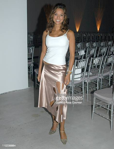 Eva La Rue during Olympus Fashion Week Spring 2005 Swarovski Front Row and Backstage at Skylight Studios in New York City New York United States